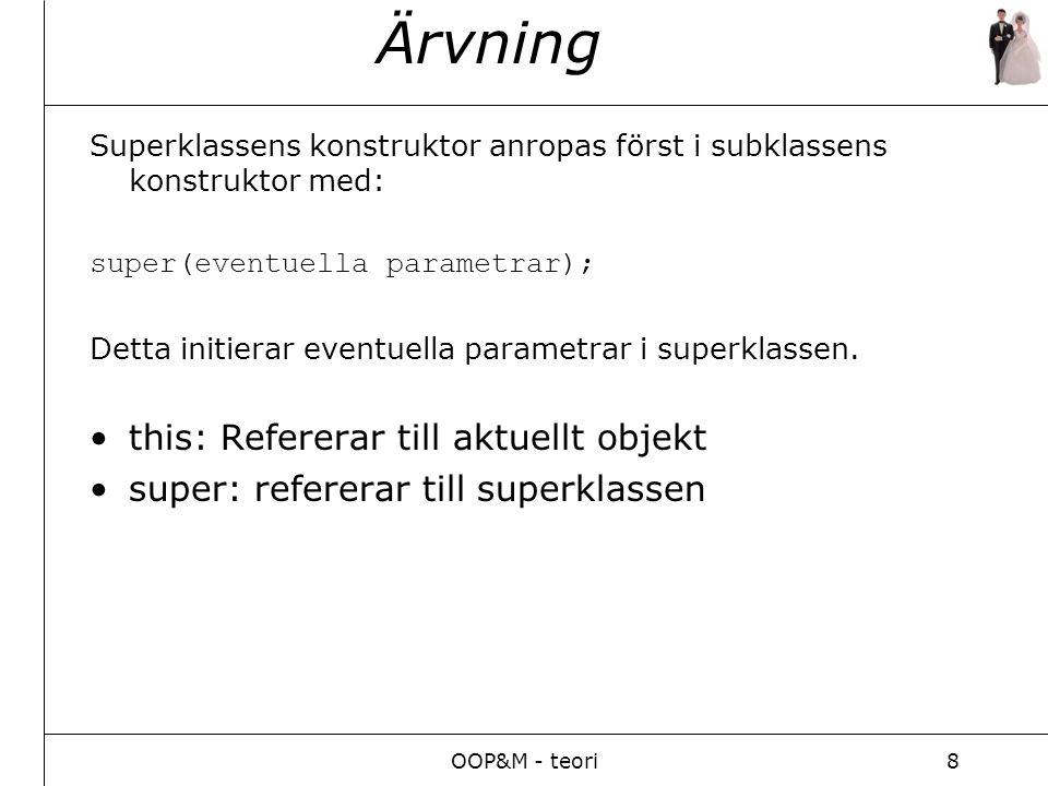 OOP&M - teori8 Ärvning Superklassens konstruktor anropas först i subklassens konstruktor med: super(eventuella parametrar); Detta initierar eventuella