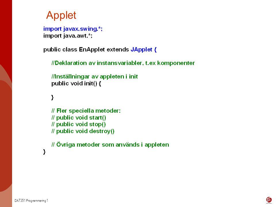 DA7351 Programmering 1 Applet