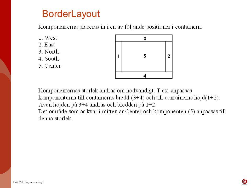 DA7351 Programmering 1 BorderLayout