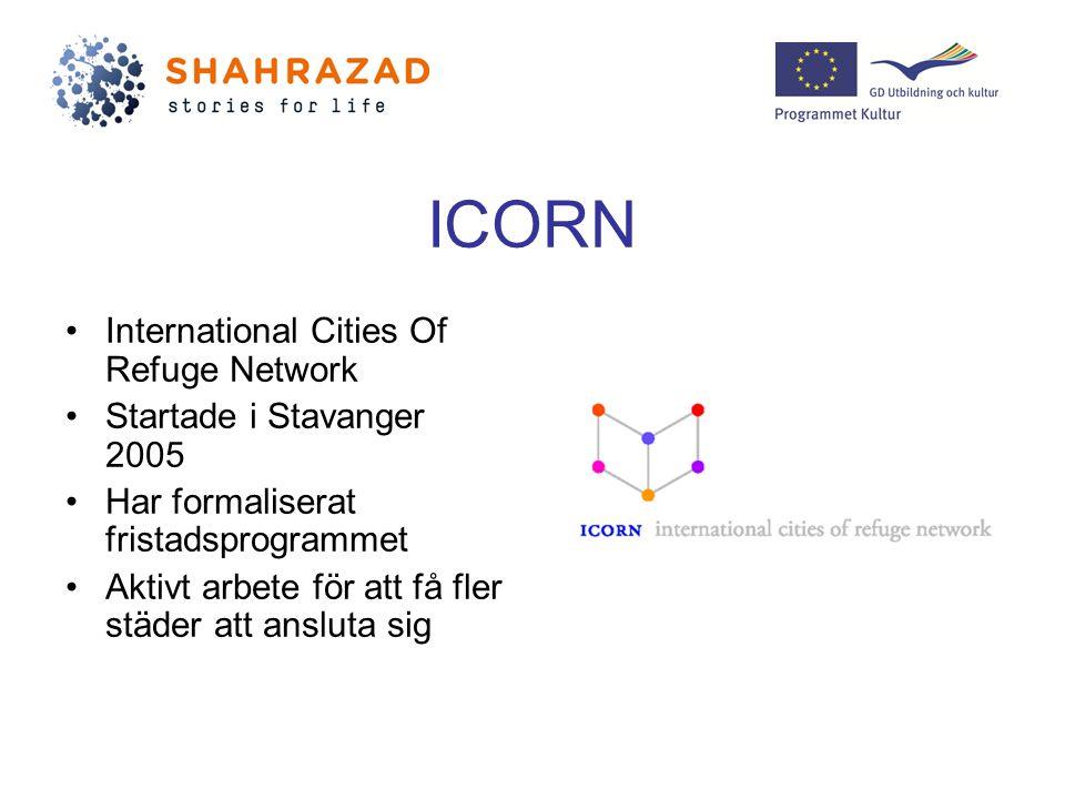 ICORN International Cities Of Refuge Network Startade i Stavanger 2005 Har formaliserat fristadsprogrammet Aktivt arbete för att få fler städer att ansluta sig