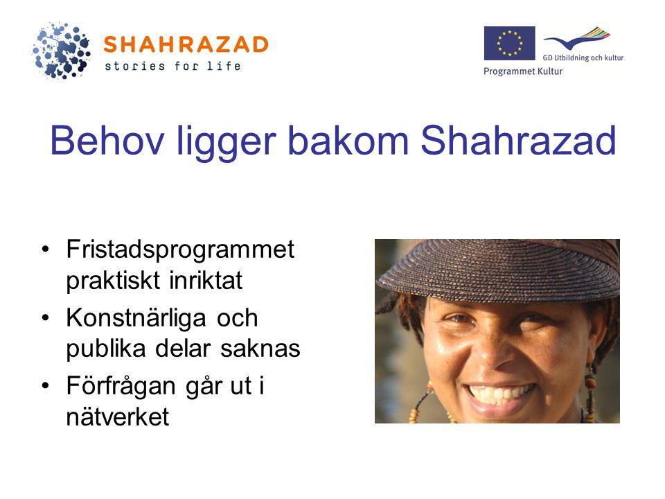 Behov ligger bakom Shahrazad Fristadsprogrammet praktiskt inriktat Konstnärliga och publika delar saknas Förfrågan går ut i nätverket