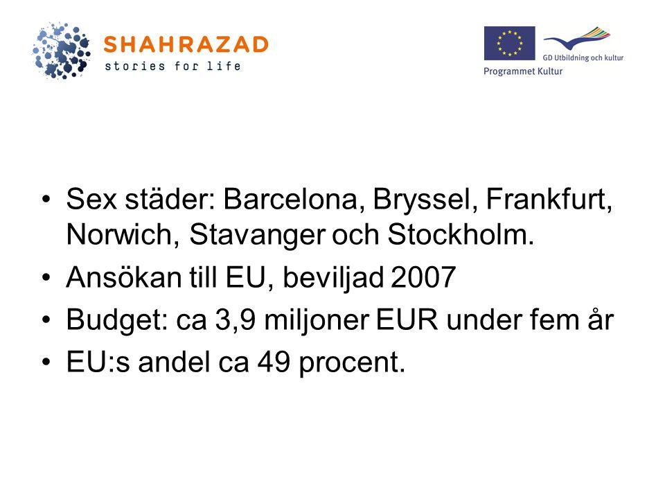Sex städer: Barcelona, Bryssel, Frankfurt, Norwich, Stavanger och Stockholm.