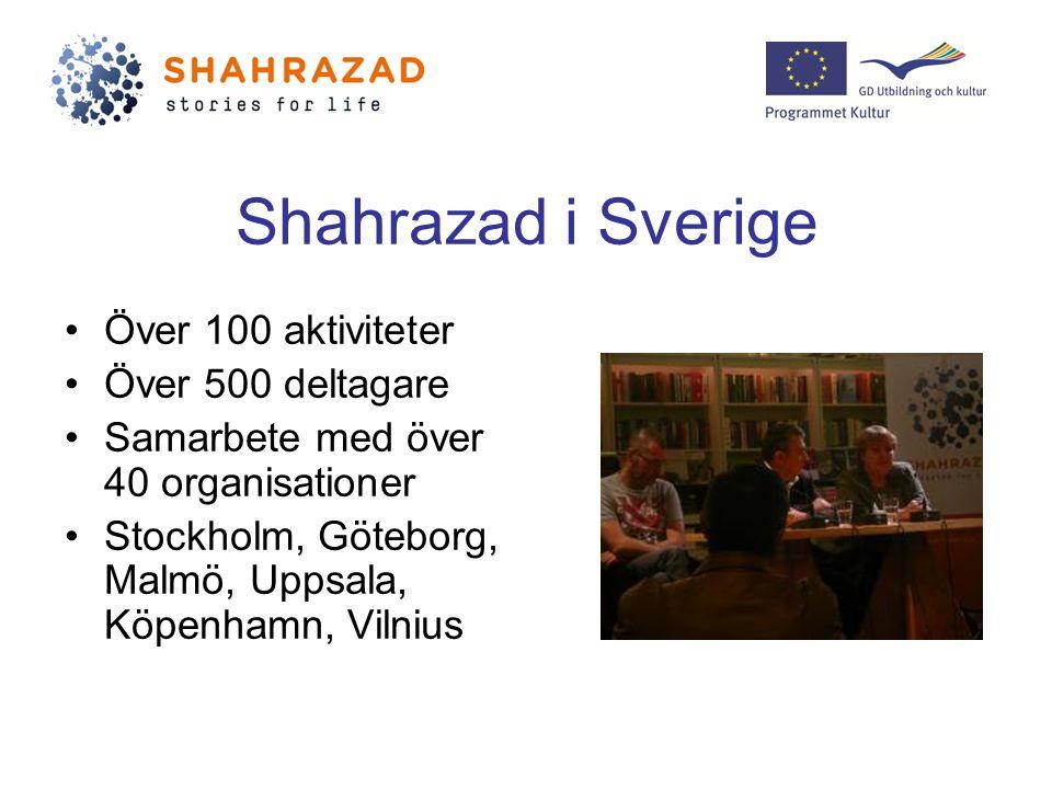 Shahrazad i Sverige Över 100 aktiviteter Över 500 deltagare Samarbete med över 40 organisationer Stockholm, Göteborg, Malmö, Uppsala, Köpenhamn, Vilnius