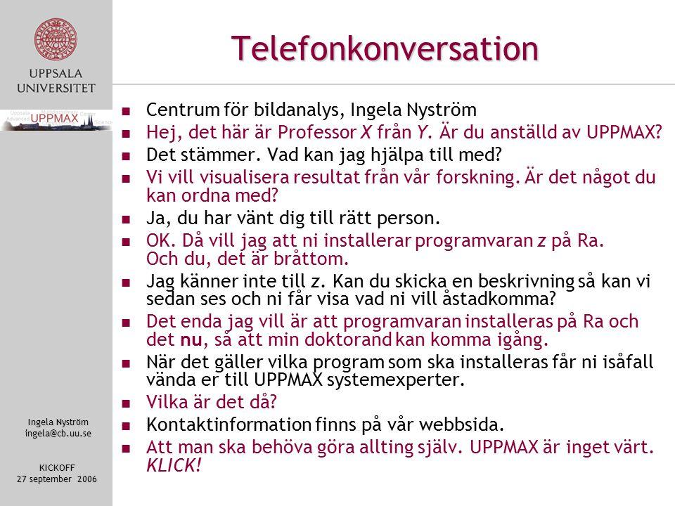 Ingela Nyström ingela@cb.uu.se KICKOFF 27 september 2006 Telefonkonversation Centrum för bildanalys, Ingela Nyström Hej, det här är Professor X från Y.