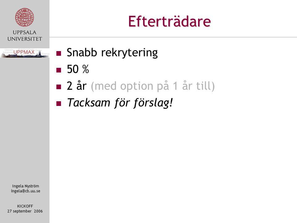 Ingela Nyström ingela@cb.uu.se KICKOFF 27 september 2006 Efterträdare Snabb rekrytering 50 % 2 år (med option på 1 år till) Tacksam för förslag!