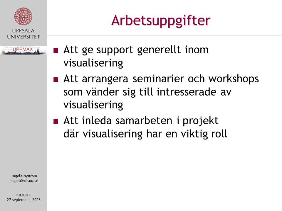 Ingela Nyström ingela@cb.uu.se KICKOFF 27 september 2006 Arbetsuppgifter Att ge support generellt inom visualisering Att arrangera seminarier och workshops som vänder sig till intresserade av visualisering Att inleda samarbeten i projekt där visualisering har en viktig roll