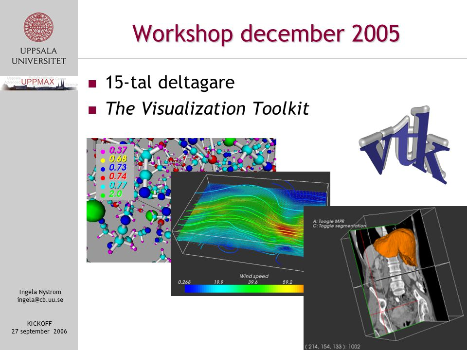 Ingela Nyström ingela@cb.uu.se KICKOFF 27 september 2006 Workshop december 2005 15-tal deltagare The Visualization Toolkit
