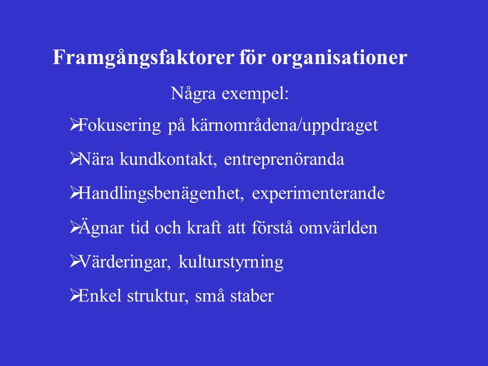 Framgångsfaktorer för organisationer Några exempel:  Fokusering på kärnområdena/uppdraget  Nära kundkontakt, entreprenöranda  Handlingsbenägenhet,
