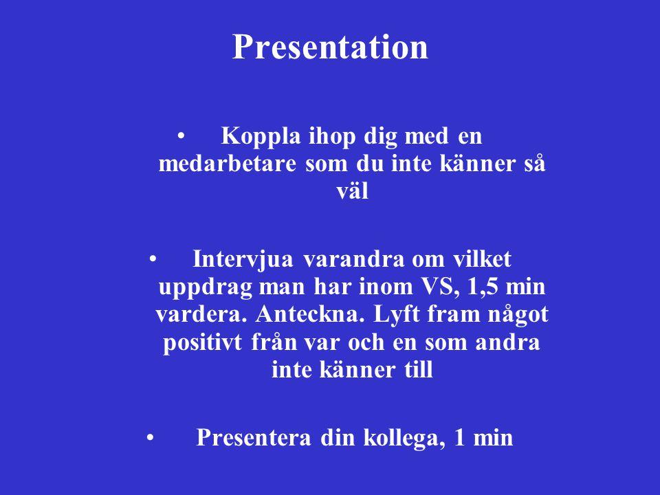 Presentation Koppla ihop dig med en medarbetare som du inte känner så väl Intervjua varandra om vilket uppdrag man har inom VS, 1,5 min vardera. Antec