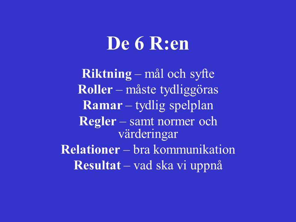 De 6 R:en Riktning – mål och syfte Roller – måste tydliggöras Ramar – tydlig spelplan Regler – samt normer och värderingar Relationer – bra kommunikat