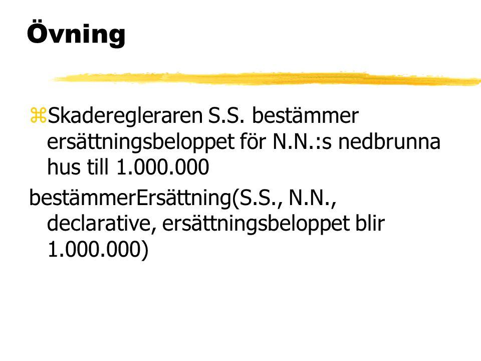 Övning zSkaderegleraren S.S. bestämmer ersättningsbeloppet för N.N.:s nedbrunna hus till 1.000.000 bestämmerErsättning(S.S., N.N., declarative, ersätt