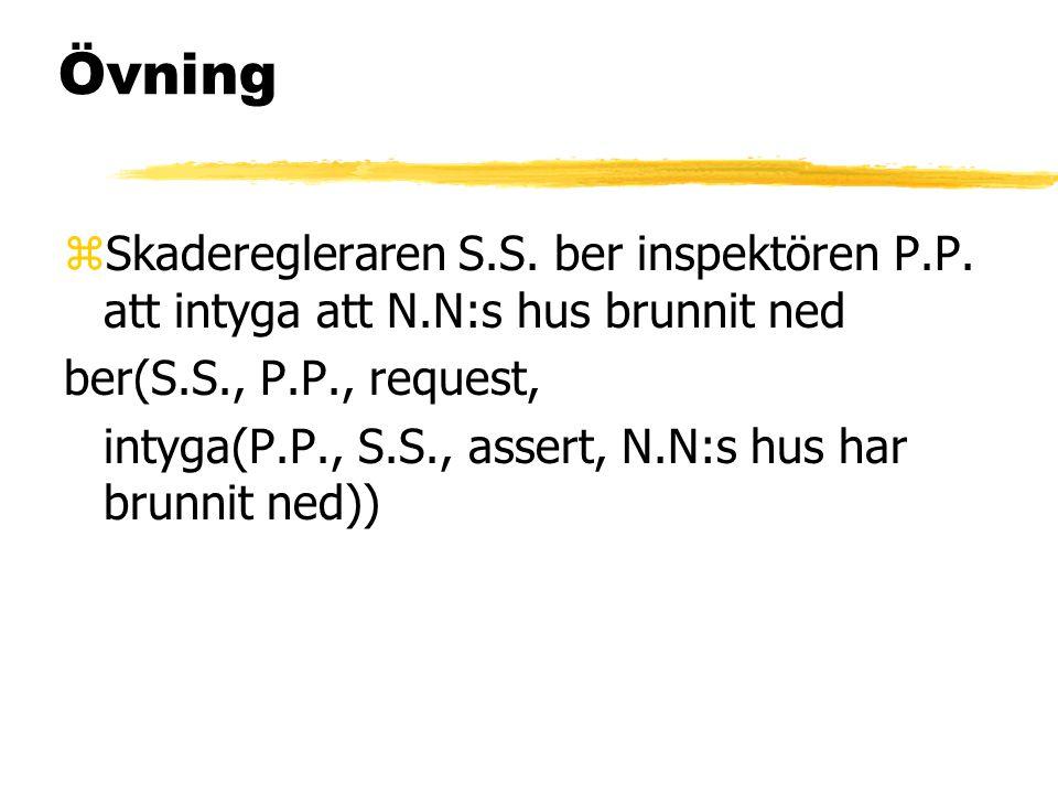 Övning zSkaderegleraren S.S. ber inspektören P.P. att intyga att N.N:s hus brunnit ned ber(S.S., P.P., request, intyga(P.P., S.S., assert, N.N:s hus h