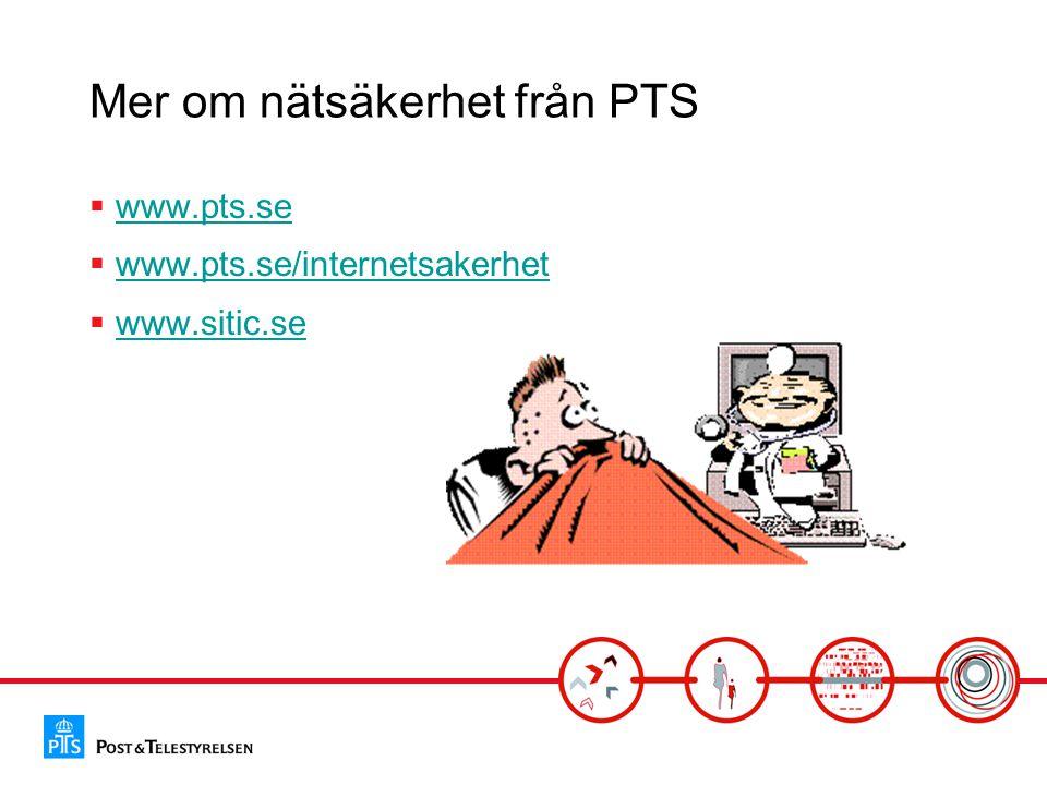 Mer om nätsäkerhet från PTS  www.pts.sewww.pts.se  www.pts.se/internetsakerhetwww.pts.se/internetsakerhet  www.sitic.sewww.sitic.se
