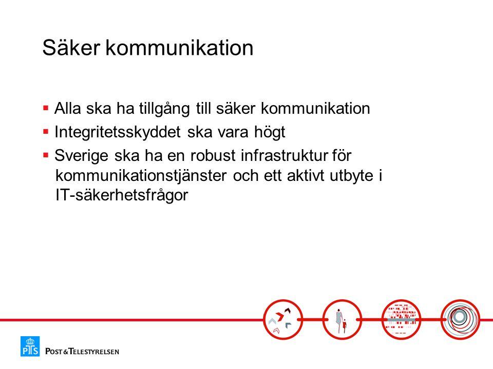 Säker kommunikation  Alla ska ha tillgång till säker kommunikation  Integritetsskyddet ska vara högt  Sverige ska ha en robust infrastruktur för ko