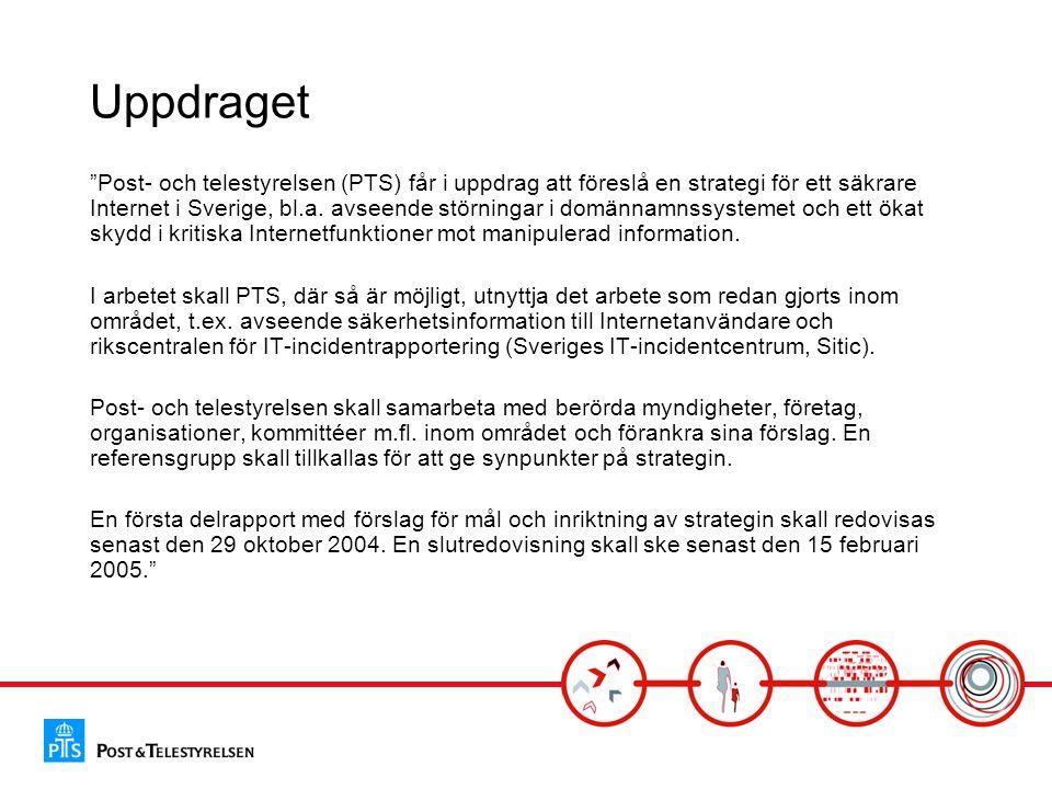 """Uppdraget """"Post- och telestyrelsen (PTS) får i uppdrag att föreslå en strategi för ett säkrare Internet i Sverige, bl.a. avseende störningar i domänna"""