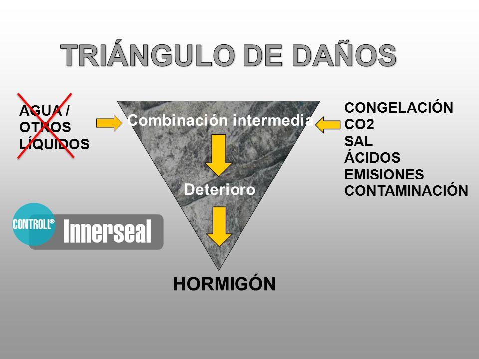 AGUA / OTROS LÍQUIDOS HORMIGÓN CONGELACIÓN CO2 SAL ÁCIDOS EMISIONES CONTAMINACIÓN Combinación intermedia Deterioro