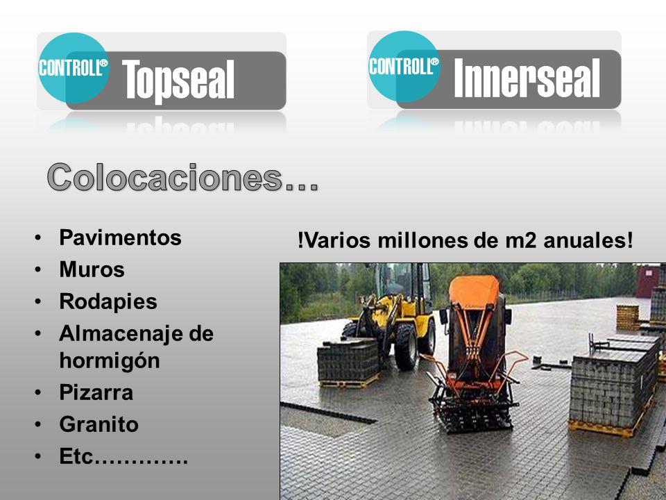 Pavimentos Muros Rodapies Almacenaje de hormigón Pizarra Granito Etc…………. !Varios millones de m2 anuales!