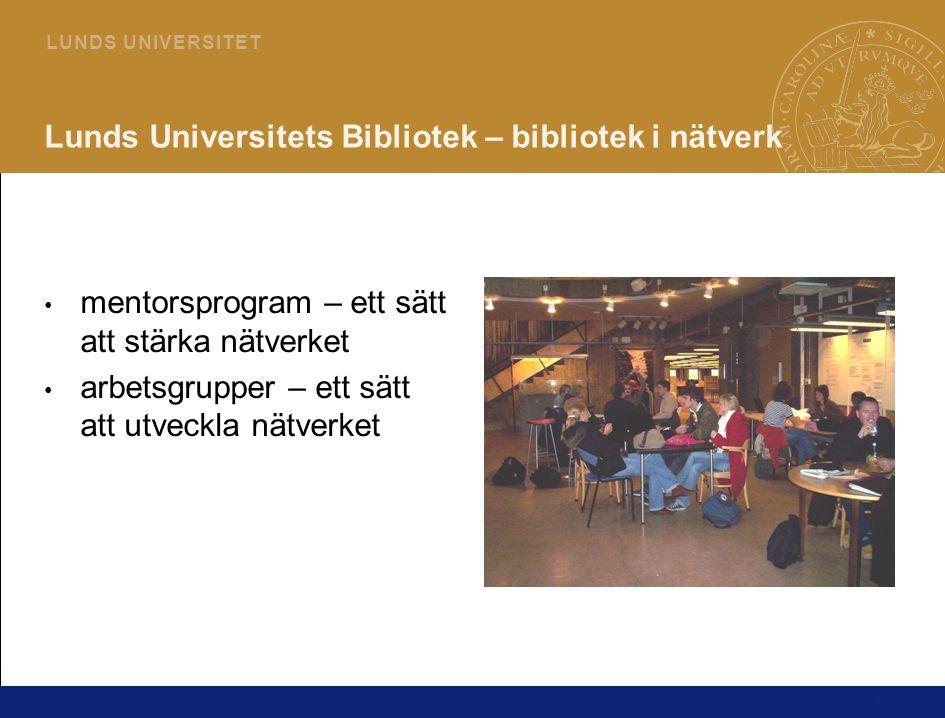 17 L U N D S U N I V E R S I T E T Lunds Universitets Bibliotek – bibliotek i nätverk mentorsprogram – ett sätt att stärka nätverket arbetsgrupper – ett sätt att utveckla nätverket