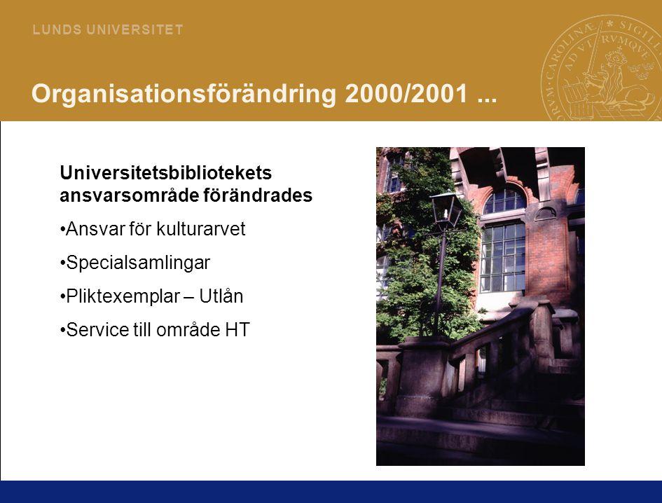 4 L U N D S U N I V E R S I T E T Organisationsförändring 2000/2001...
