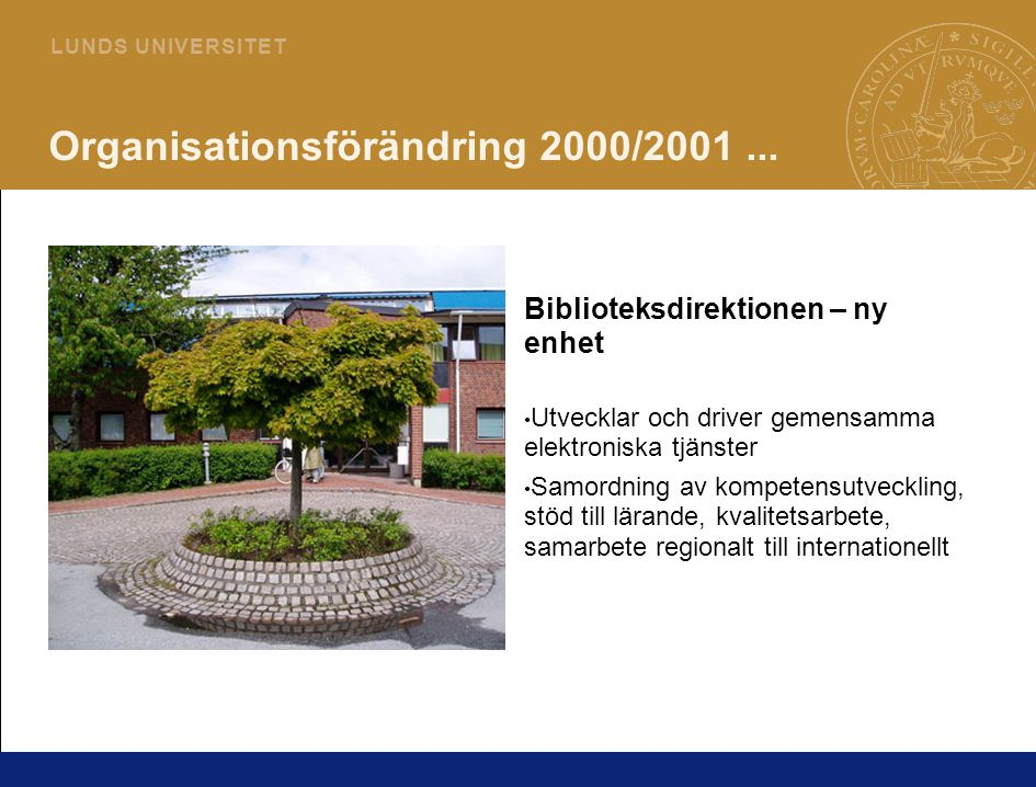 5 L U N D S U N I V E R S I T E T Organisationsförändring 2000/2001...