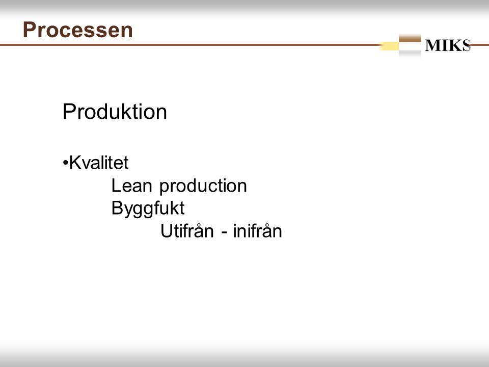 Processen Produktion Kvalitet Lean production Byggfukt Utifrån - inifrån