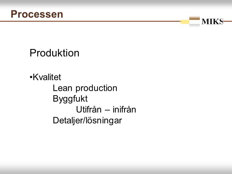 Processen Produktion Kvalitet Lean production Byggfukt Utifrån – inifrån Detaljer/lösningar