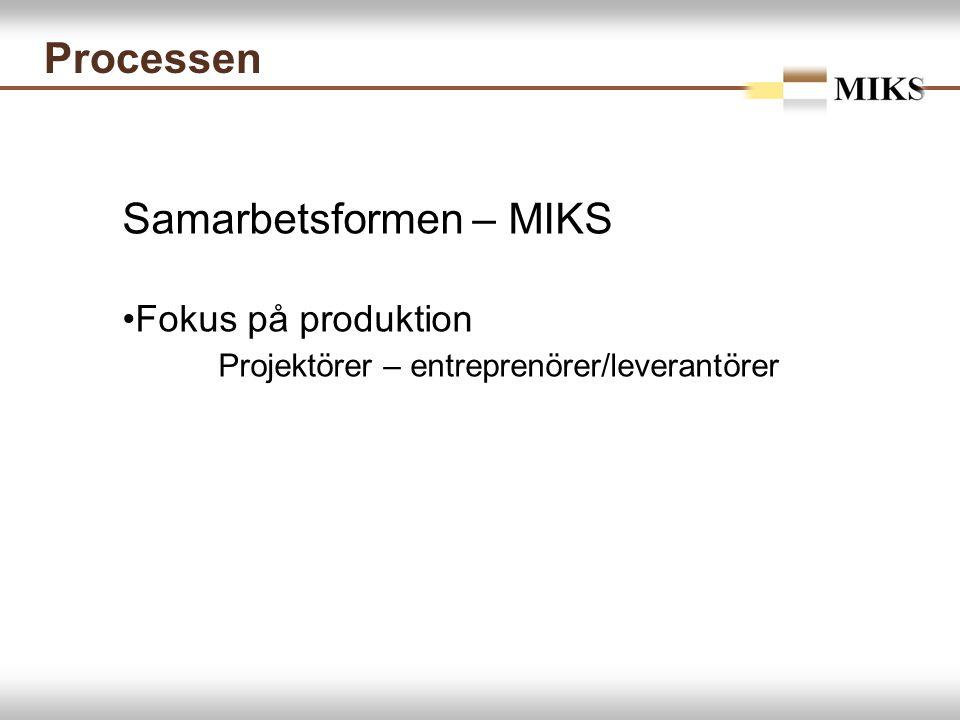 Processen Samarbetsformen – MIKS Fokus på produktion Projektörer – entreprenörer/leverantörer