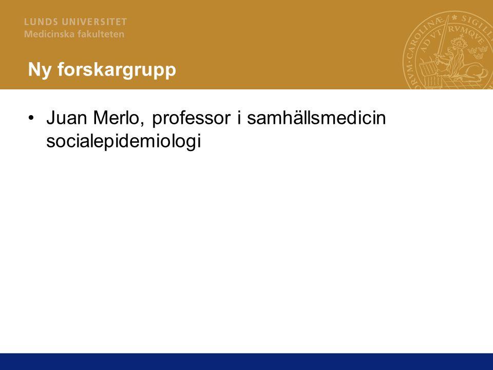 Ny forskargrupp Juan Merlo, professor i samhällsmedicin socialepidemiologi