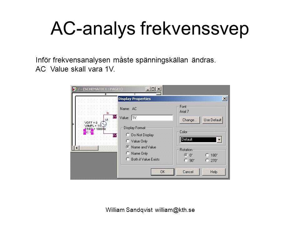 William Sandqvist william@kth.se AC-analys frekvenssvep Inför frekvensanalysen måste spänningskällan ändras.