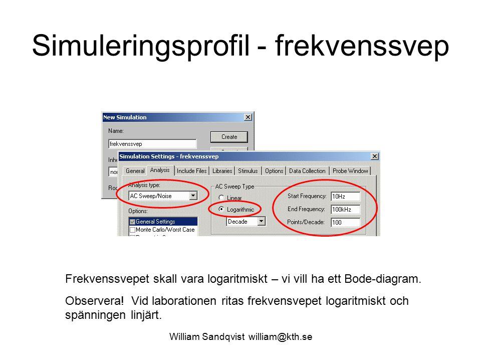 William Sandqvist william@kth.se Simuleringsprofil - frekvenssvep Frekvenssvepet skall vara logaritmiskt – vi vill ha ett Bode-diagram.