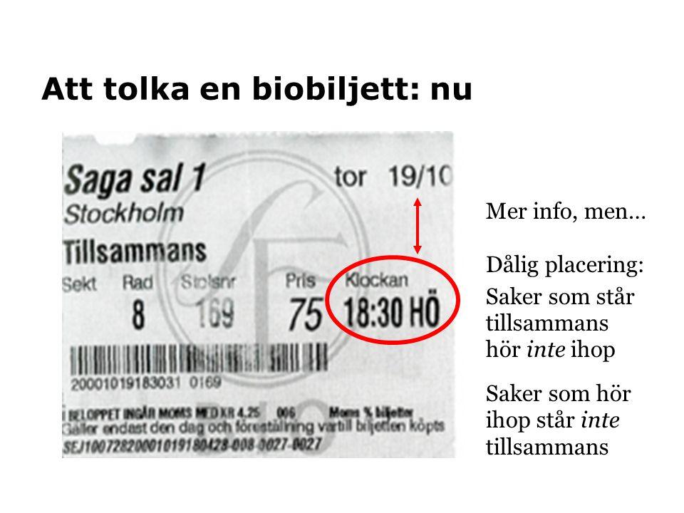 Att tolka en biobiljett: nu Mer info, men… Dålig placering: Saker som står tillsammans hör inte ihop Saker som hör ihop står inte tillsammans
