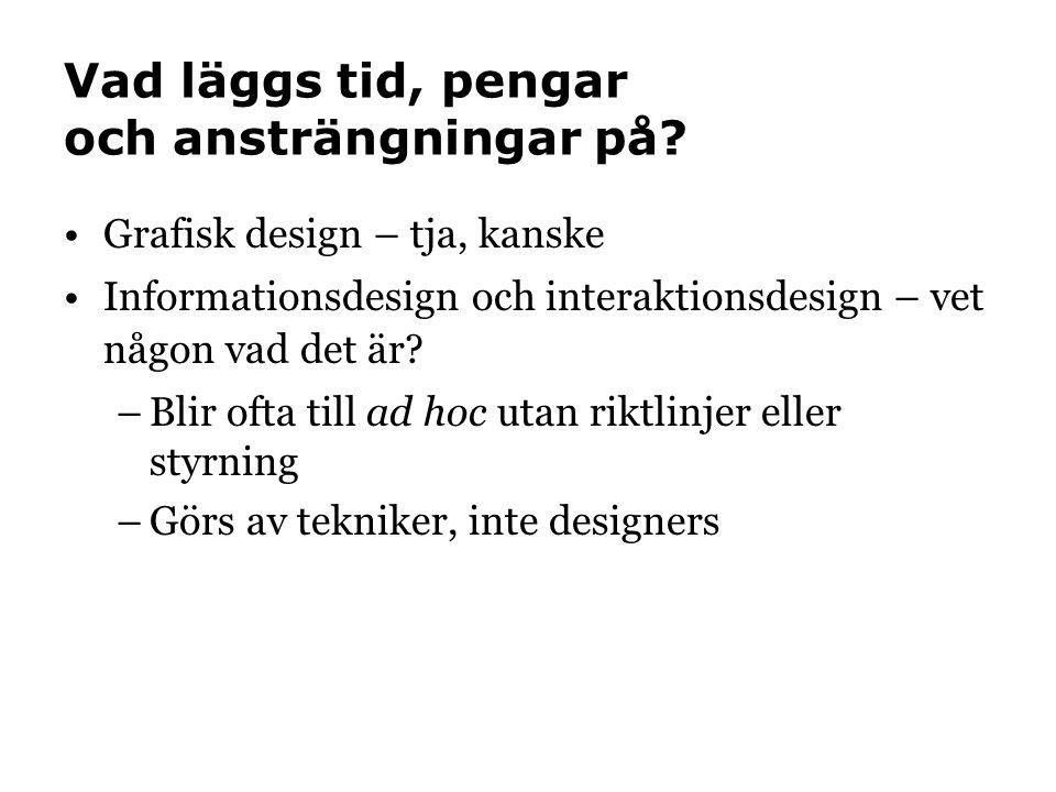 Vad läggs tid, pengar och ansträngningar på? Grafisk design – tja, kanske Informationsdesign och interaktionsdesign – vet någon vad det är? –Blir ofta
