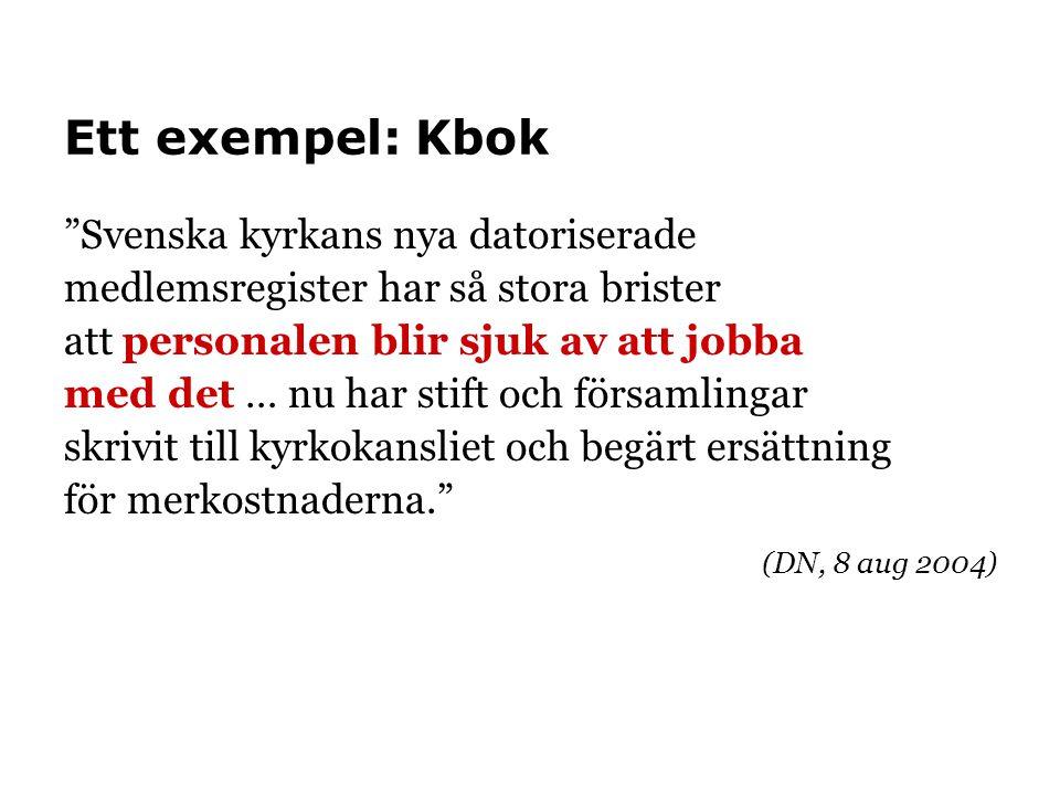 """Ett exempel: Kbok """"Svenska kyrkans nya datoriserade medlemsregister har så stora brister att personalen blir sjuk av att jobba med det … nu har stift"""
