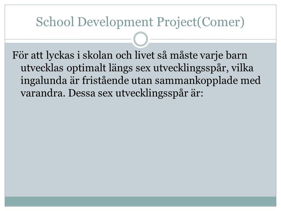 School Development Project(Comer) För att lyckas i skolan och livet så måste varje barn utvecklas optimalt längs sex utvecklingsspår, vilka ingalunda är fristående utan sammankopplade med varandra.