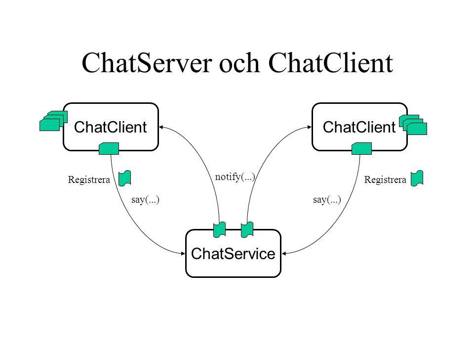 ChatServer och ChatClient ChatService ChatClient Registrera say(...) notify(...)