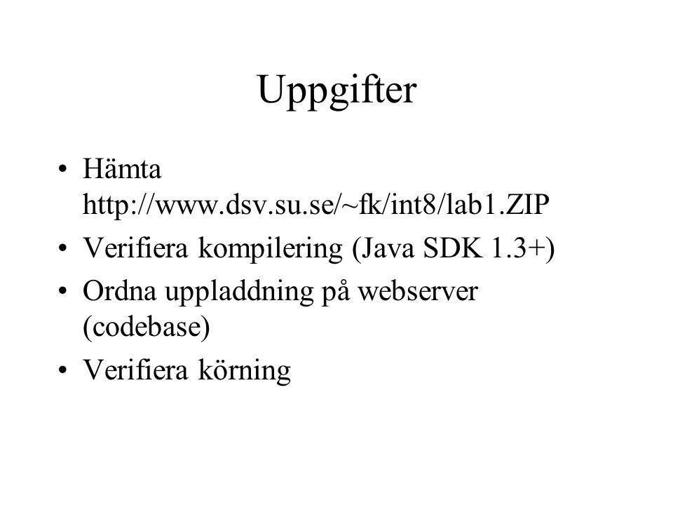 Uppgifter Hämta http://www.dsv.su.se/~fk/int8/lab1.ZIP Verifiera kompilering (Java SDK 1.3+) Ordna uppladdning på webserver (codebase) Verifiera körning