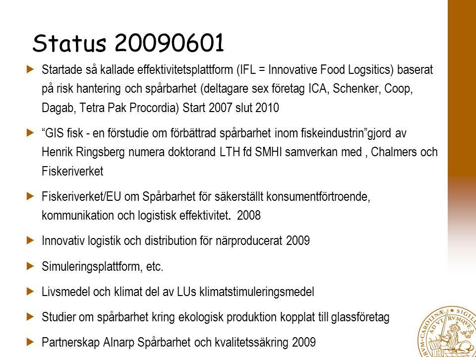 Status 20090601  Startade så kallade effektivitetsplattform (IFL = Innovative Food Logsitics) baserat på risk hantering och spårbarhet (deltagare sex företag ICA, Schenker, Coop, Dagab, Tetra Pak Procordia) Start 2007 slut 2010  GIS fisk - en förstudie om förbättrad spårbarhet inom fiskeindustrin gjord av Henrik Ringsberg numera doktorand LTH fd SMHI samverkan med, Chalmers och Fiskeriverket  Fiskeriverket/EU om Spårbarhet för säkerställt konsumentförtroende, kommunikation och logistisk effektivitet.