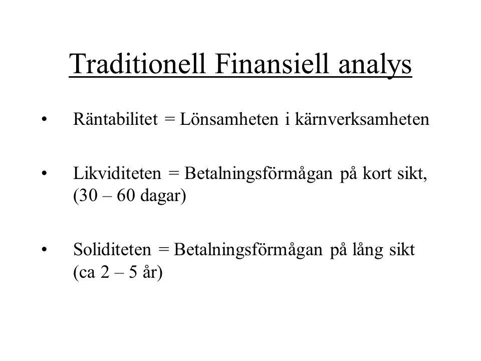 Traditionell Finansiell analys Räntabilitet = Lönsamheten i kärnverksamheten Likviditeten = Betalningsförmågan på kort sikt, (30 – 60 dagar) Soliditet
