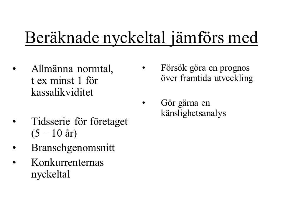 Beräknade nyckeltal jämförs med Allmänna normtal, t ex minst 1 för kassalikviditet Tidsserie för företaget (5 – 10 år) Branschgenomsnitt Konkurrentern