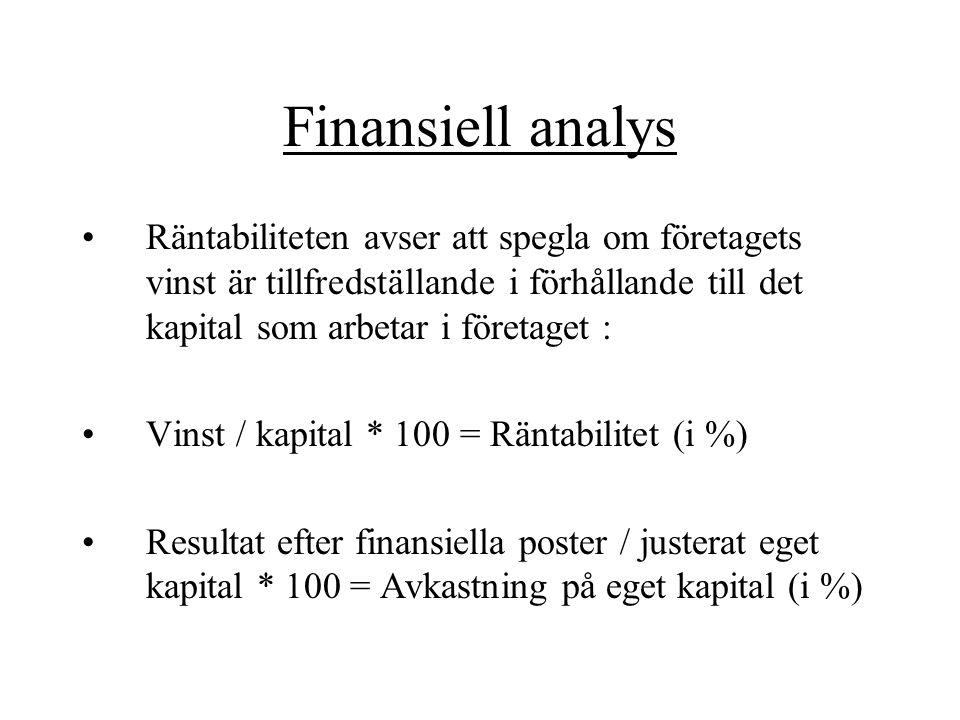 Finansiell analys Räntabiliteten avser att spegla om företagets vinst är tillfredställande i förhållande till det kapital som arbetar i företaget : Vi