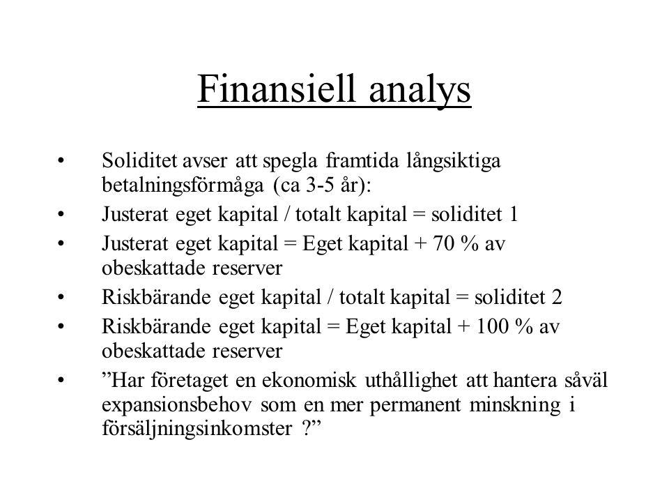 Finansiell analys Soliditet avser att spegla framtida långsiktiga betalningsförmåga (ca 3-5 år): Justerat eget kapital / totalt kapital = soliditet 1