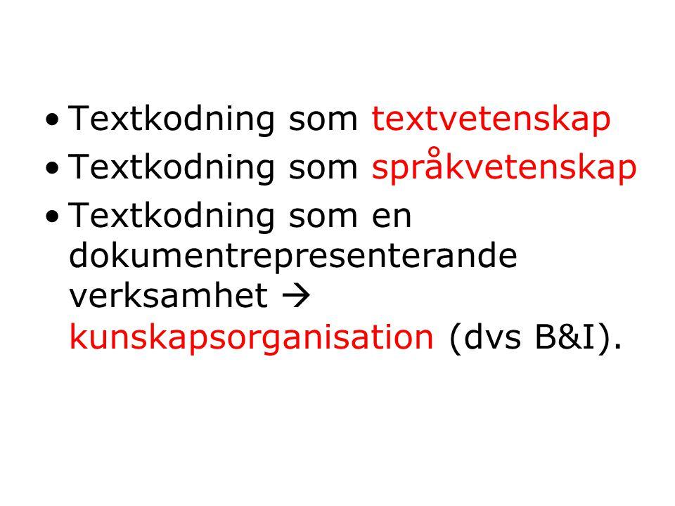 Textkodning som textvetenskap Textkodning som språkvetenskap Textkodning som en dokumentrepresenterande verksamhet  kunskapsorganisation (dvs B&I).