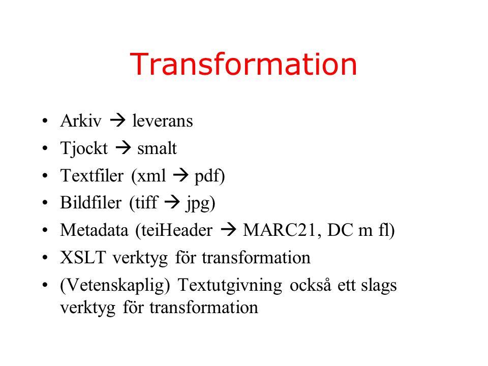 Transformation Arkiv  leverans Tjockt  smalt Textfiler (xml  pdf) Bildfiler (tiff  jpg) Metadata (teiHeader  MARC21, DC m fl) XSLT verktyg för transformation (Vetenskaplig) Textutgivning också ett slags verktyg för transformation