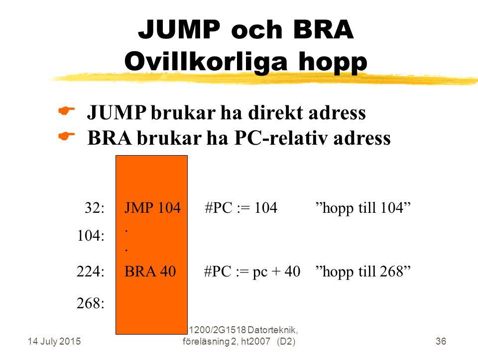 14 July 2015 IS1200/2G1518 Datorteknik, föreläsning 2, ht2007 (D2)36 JUMP och BRA Ovillkorliga hopp  JUMP brukar ha direkt adress  BRA brukar ha PC-relativ adress JMP 104 #PC := 104 hopp till 104 .