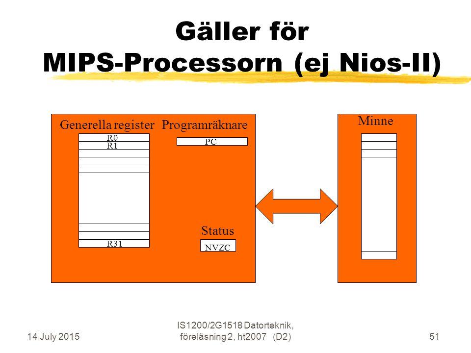 14 July 2015 IS1200/2G1518 Datorteknik, föreläsning 2, ht2007 (D2)51 Gäller för MIPS-Processorn (ej Nios-II) R0 R31 R1 PC Minne Generella registerProgramräknare NVZC Status