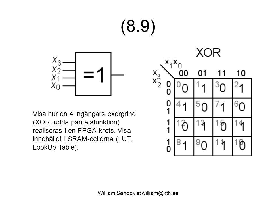 William Sandqvist william@kth.se (8.9) Visa hur en 4 ingångars exorgrind (XOR, udda paritetsfunktion) realiseras i en FPGA-krets. Visa innehållet i SR