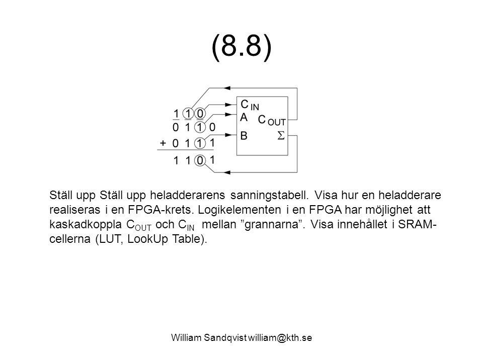 William Sandqvist william@kth.se (8.8) Ställ upp Ställ upp heladderarens sanningstabell. Visa hur en heladderare realiseras i en FPGA-krets. Logikelem