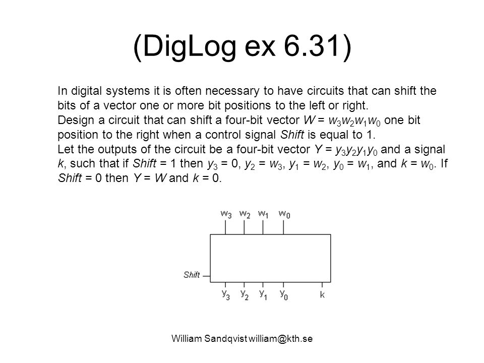 William Sandqvist william@kth.se (DigLog ex 6.31) In digital systems it is often necessary to have circuits that can shift the bits of a vector one or