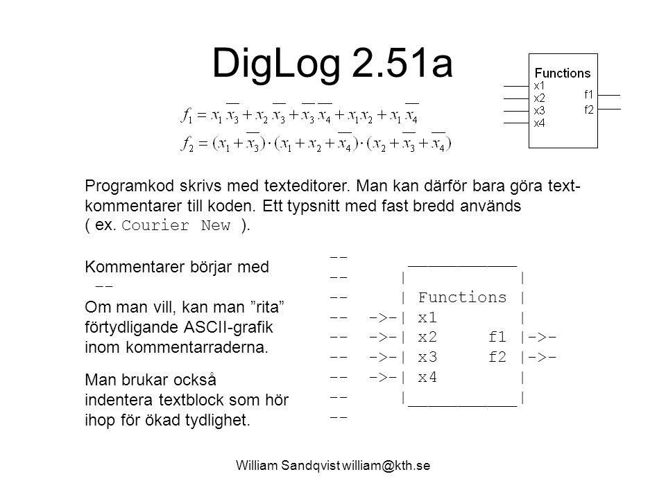 """William Sandqvist william@kth.se DigLog 2.51a Kommentarer börjar med –- Om man vill, kan man """"rita"""" förtydligande ASCII-grafik inom kommentarraderna."""