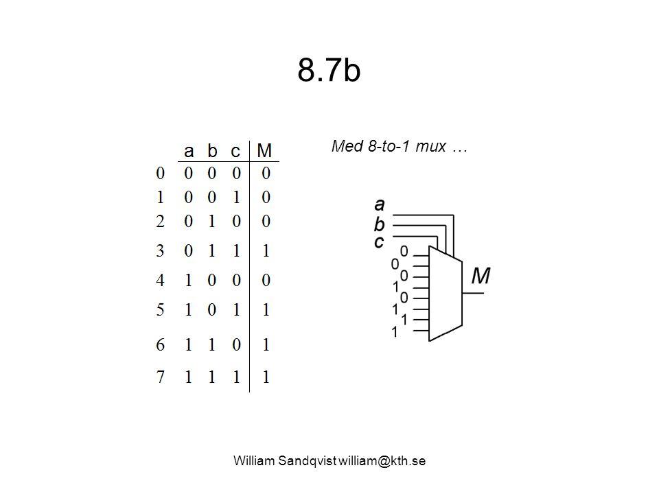 William Sandqvist william@kth.se Vi använder multiplexorer: (DigLog ex 6.31)